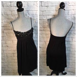 Piacere Qi Piu Sz M Black Embellished Empire Dress
